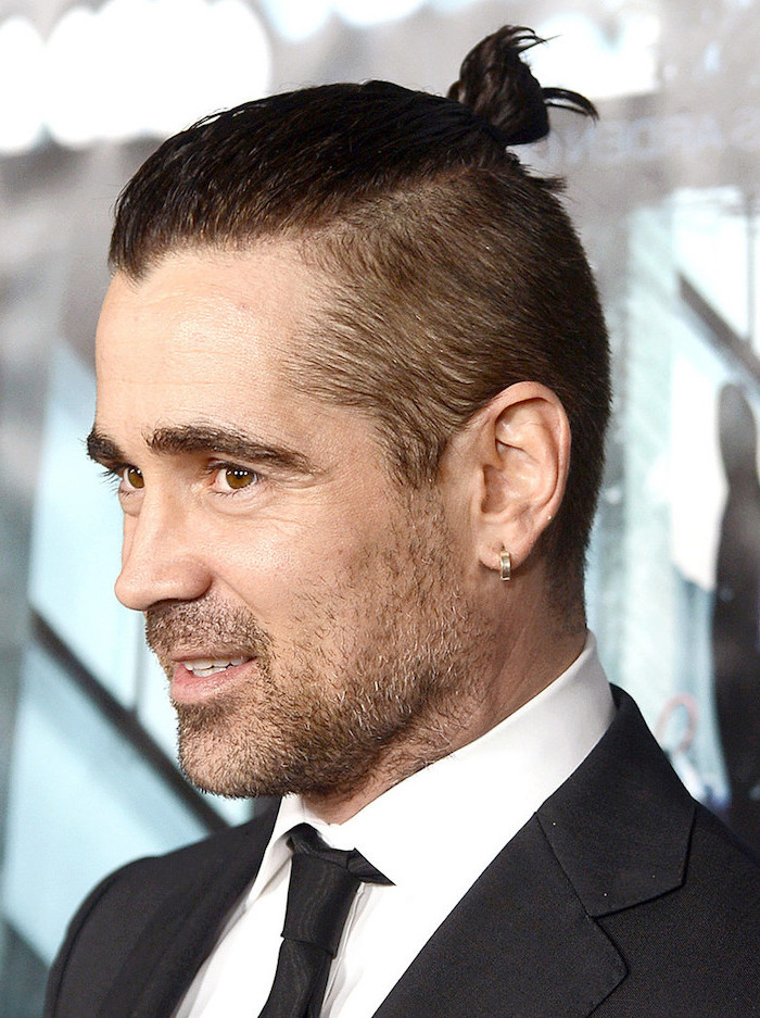 colin farrell, black hair, man bun, best haircuts for men, black jacket and tie, white shirt