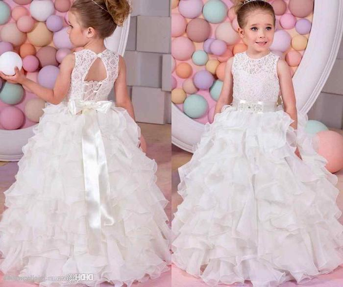 colourful background, white lace and tulle dress, girls party dresses, white satin bow, blonde hair, high updo