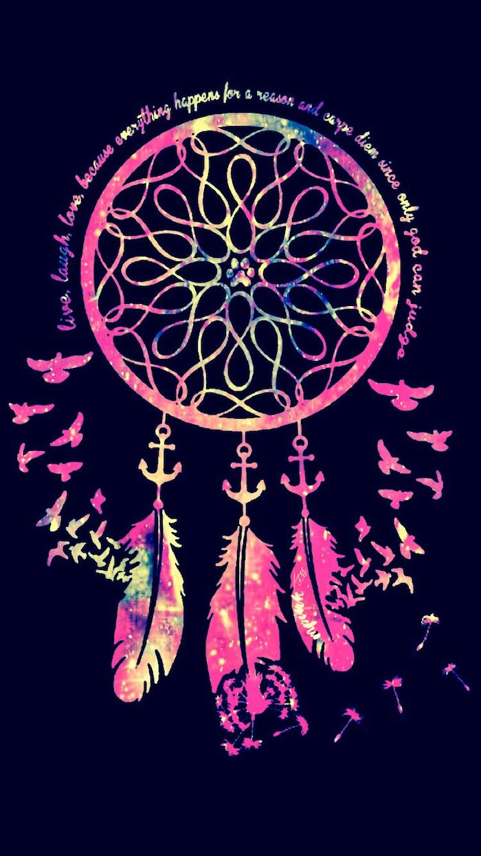 colourful dreamcatcher, tumblr lockscreens, black background, inspirational quote