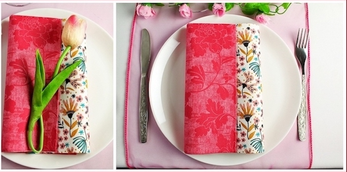 floral napkin, tulip on top, side by side photos, christmas napkin folding, white plate, pink table runner