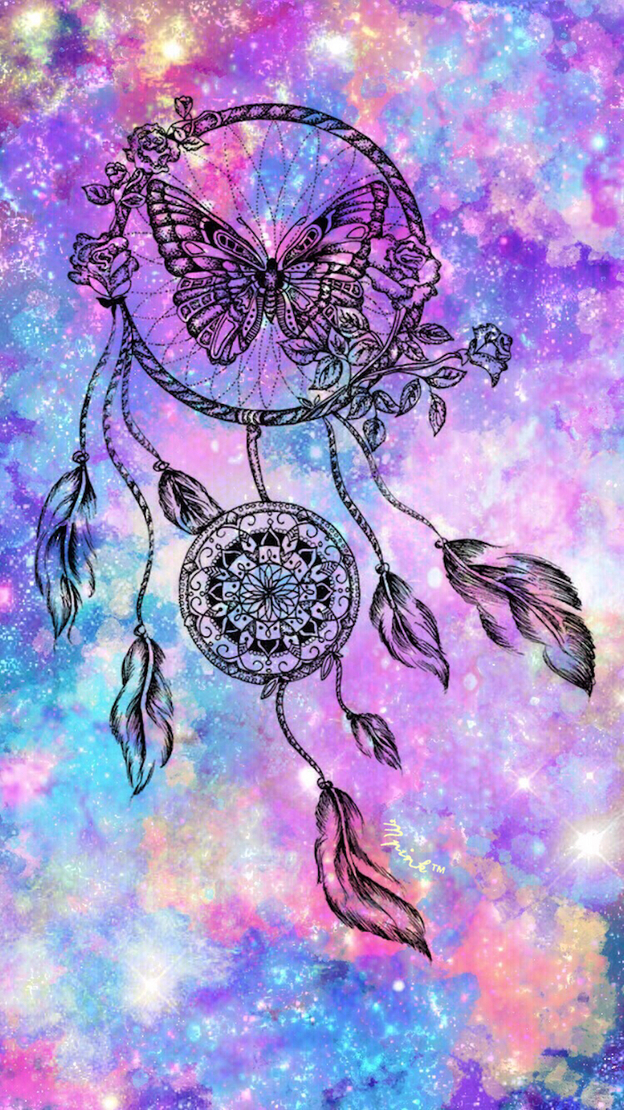 colourful galaxy background, black dreamcatcher, tumblr lockscreens