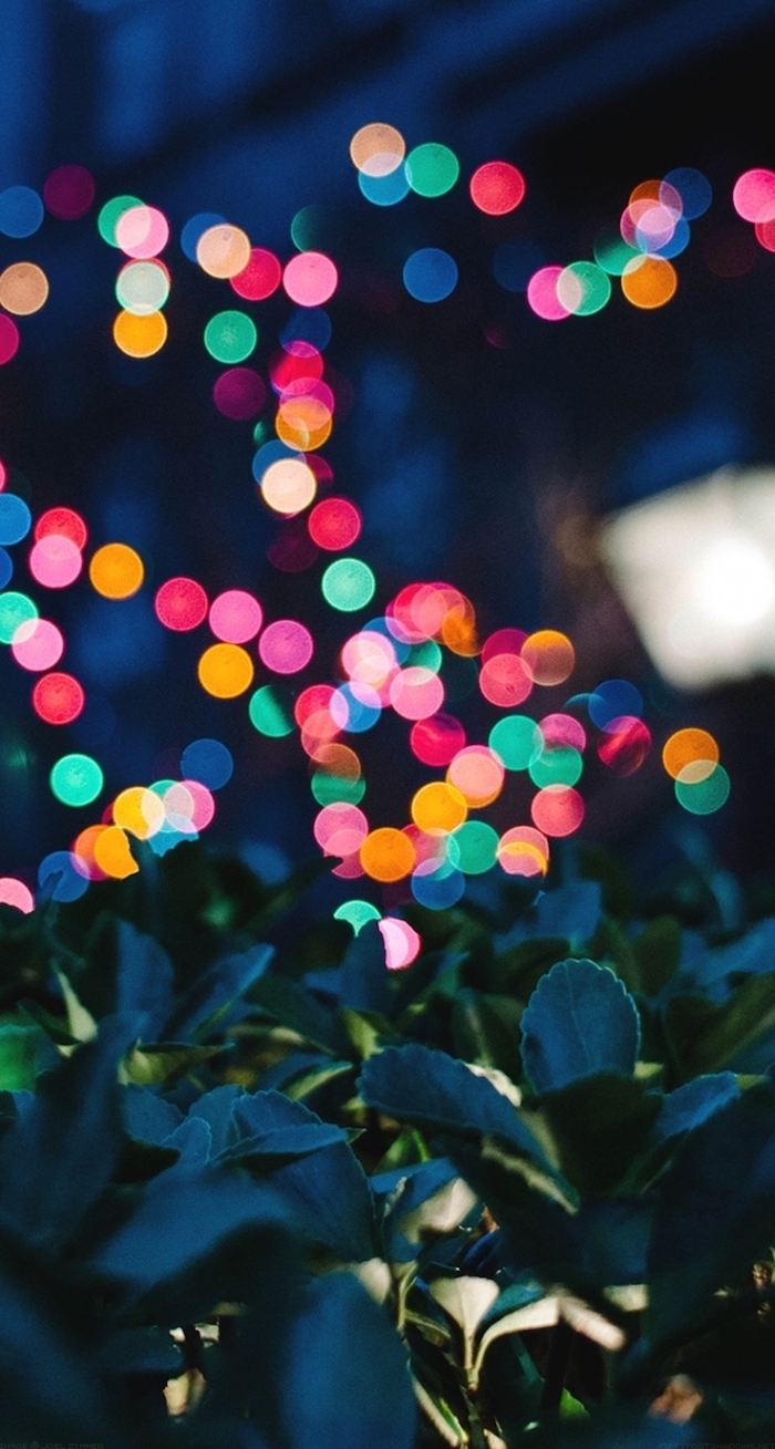 colourful blurred lights, green bush, tumblr lockscreens