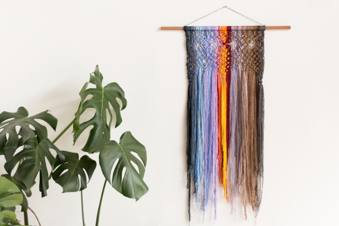 colourful macrame decoration, potted plant, white wall, macrame diy