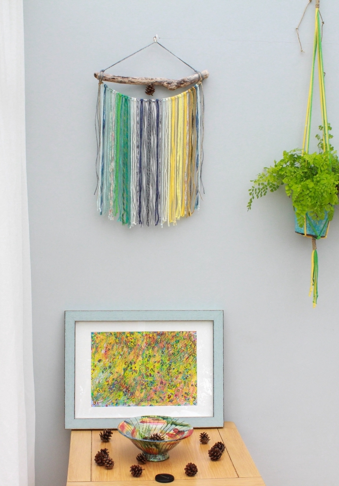 colourful abstract art, macrame diy, potted plant, colourful macrame decoration, pine cones, grey wall