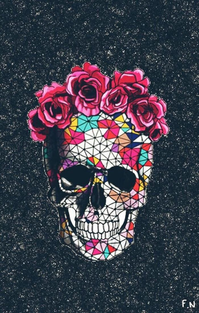 colourful mosaic skull, pink roses, cute tumblr backgrounds, black and white background