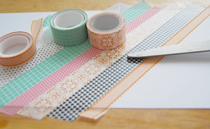 colourful washi tape, taped to a white carton, preschool learning, step by step, diy tutorial