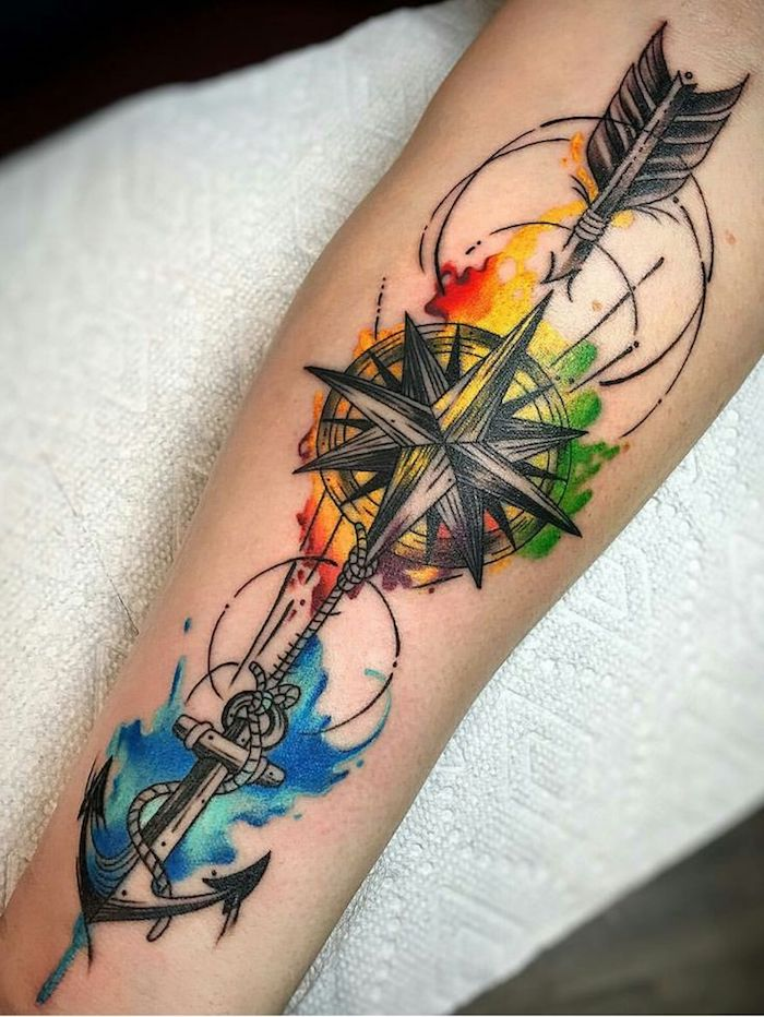 arrow with an anchor, going through a compass, forearm tattoos, watercolour tattoo