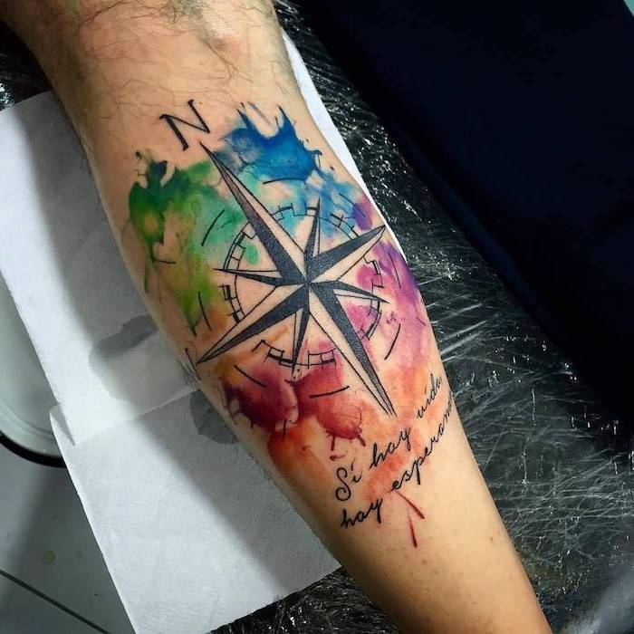 watercolour compass, forearm tattoo, arm tattoos for women, hand on white paper