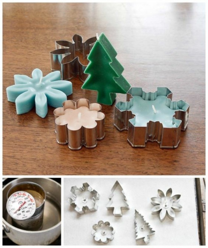 candles made with cookie cutters, in different shapes, how to make homemade candles, step by step, diy tutorial