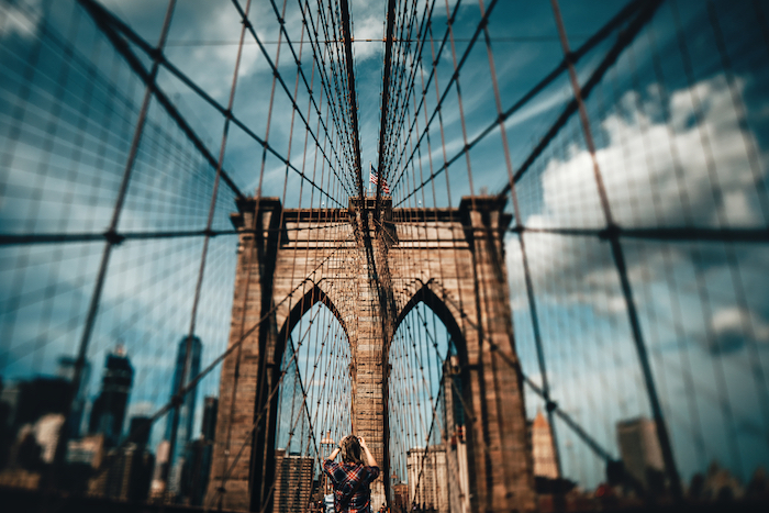 brooklyn bridge, cute tumblr backgrounds, blue sky, new york city landscape