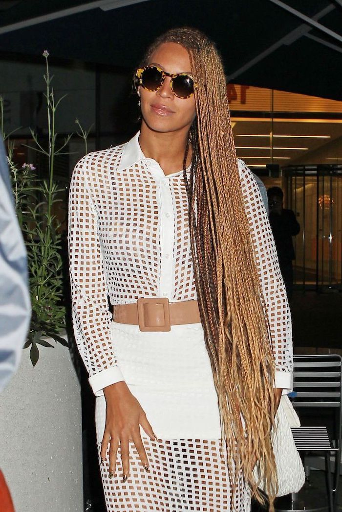 beyonce with very long blonde hair, in a white dress, big cornrows hairstyles