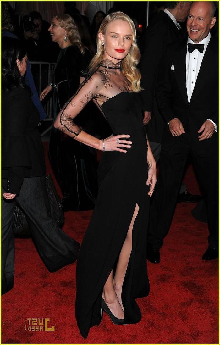 kate bosworth, with a long black dress, lace on top, met gala best dressed, long blonde curly hair