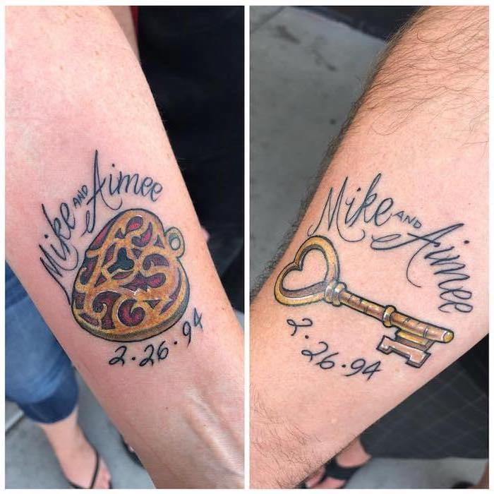 mike and aimee, lock and key, marriage tattoos