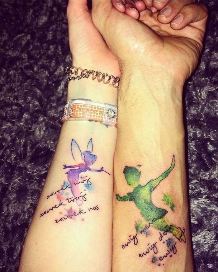 marriage tattoos, peter pan and tinkerbell, watercolour forearm tattoo