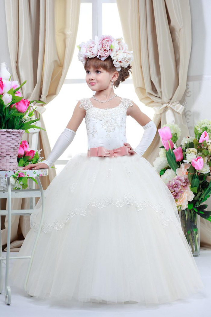 white lace and tulle dress, girls party dresses, flower crown, brown hair with bangs, white satin gloves