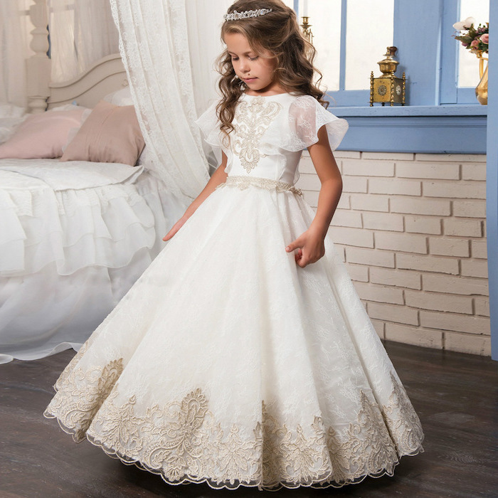 white dress with ivory lace, long blonde wavy hair, dresses for girls, wooden floor, white tiara