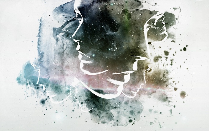 female face, abstract drawing, in green and blue, cute tumblr backgrounds, white background