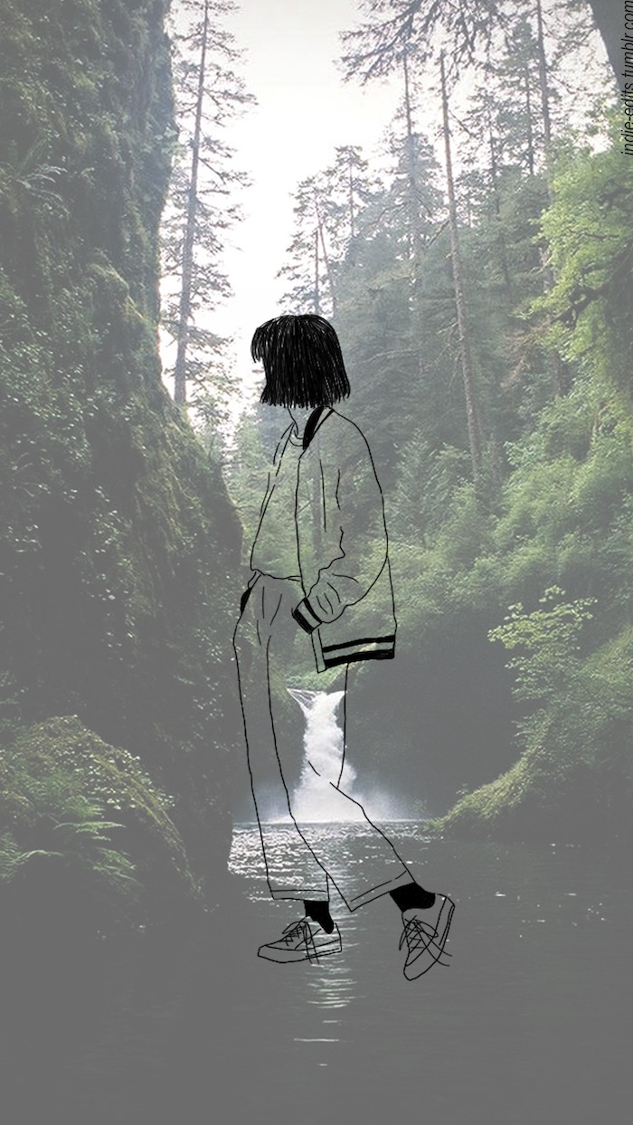 forest landscape, girl drawing, river flowing, tall trees, cute tumblr backgrounds