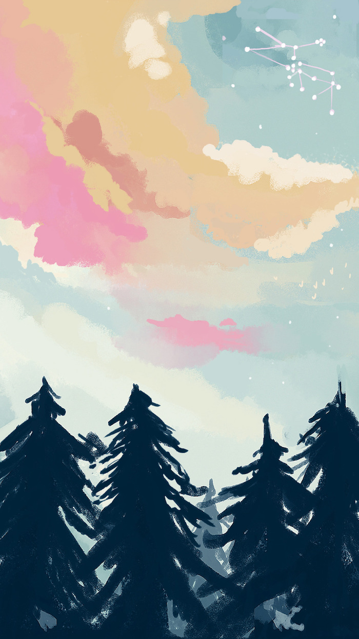 pastel drawing, black trees, cute tumblr background, sky in blue orange and pink