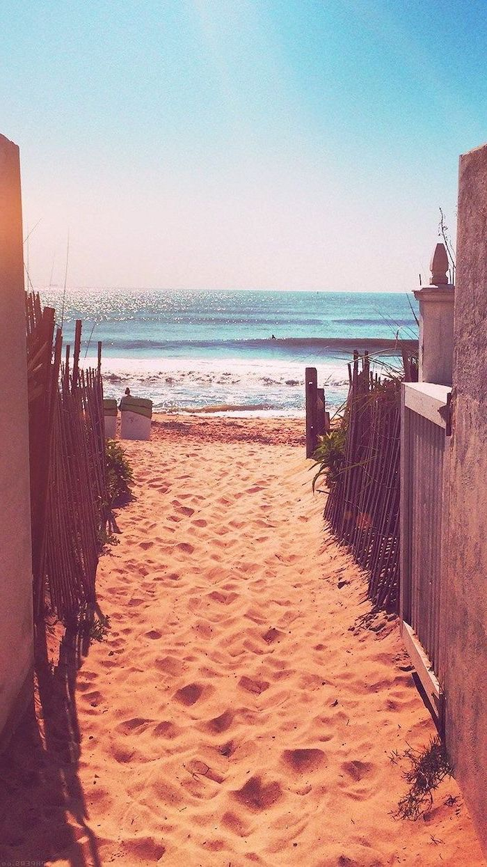 beach front, ocean waves, beach sand, cute phone wallpapers, pathway between wooden fences