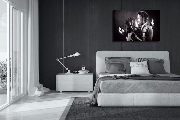 black wall, grey carpet, white tiled floor, master bedroom decorating ideas, white bed frame and night stand
