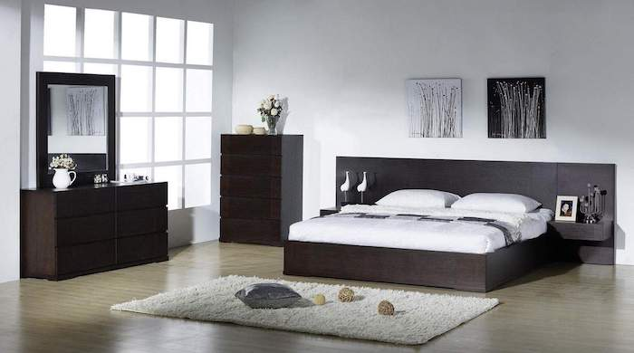 dark wooden bed frame, drawers and shelves, wooden floor, white carpet, master bedroom decorating ideas