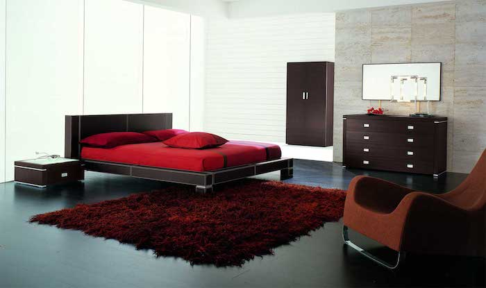 dark wooden bed frame, wardrobe and drawers, master bedroom decorating ideas, red carpet and bed linen