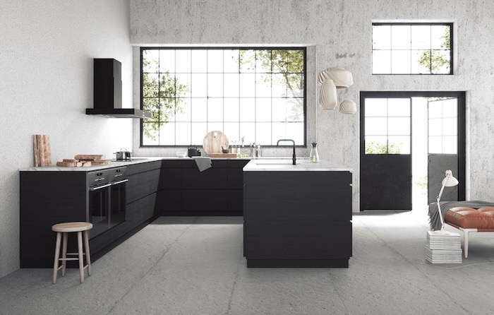 black u shaped kitchen, kitchen island breakfast bar, black cabinets, marble countertops