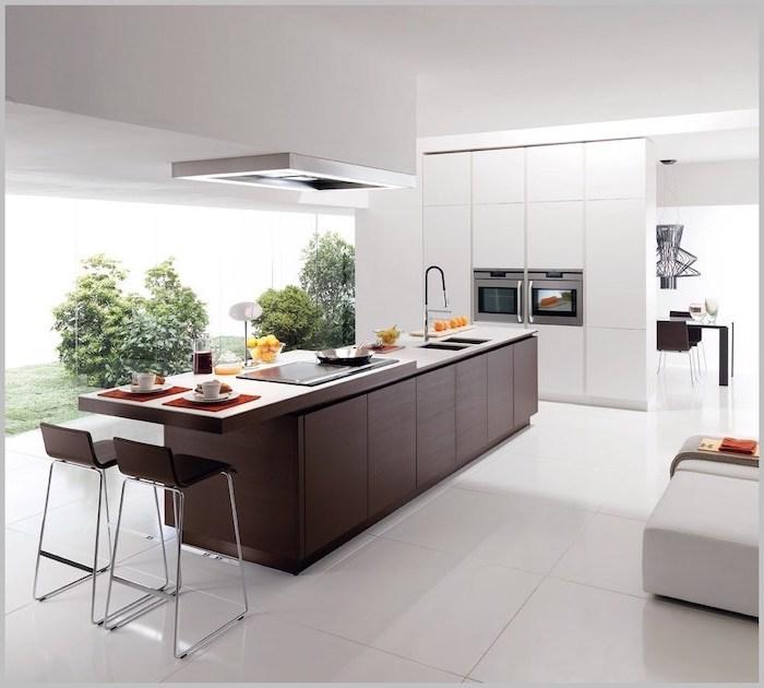dark wooden kitchen island, kitchen island ideas, wooden bar stools, white tiled floor, white cabinets