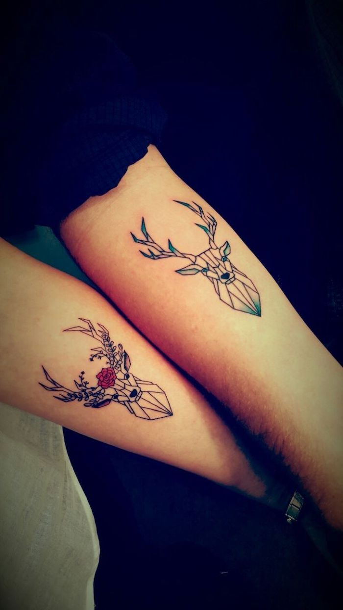 deer and stag, geometric design, matching tattoos, forearm tattoos