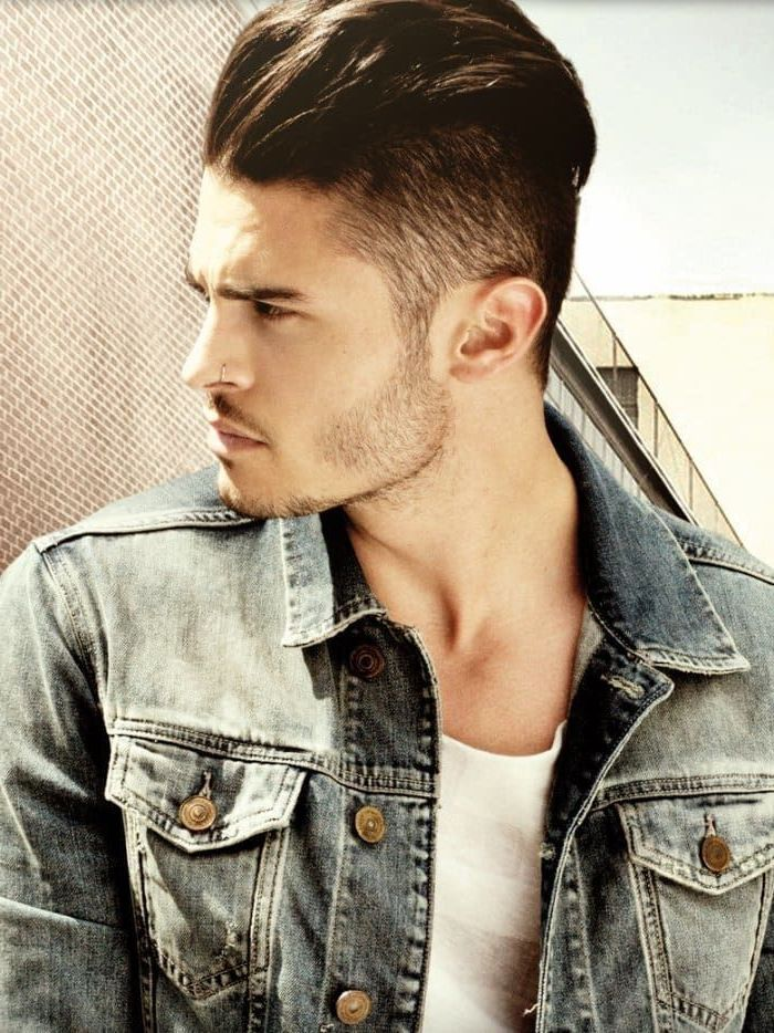 denim jacket, best hairstyle for men, brown hair, white top