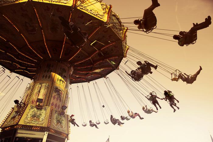 cute teen tumblr, people riding, a large carousel
