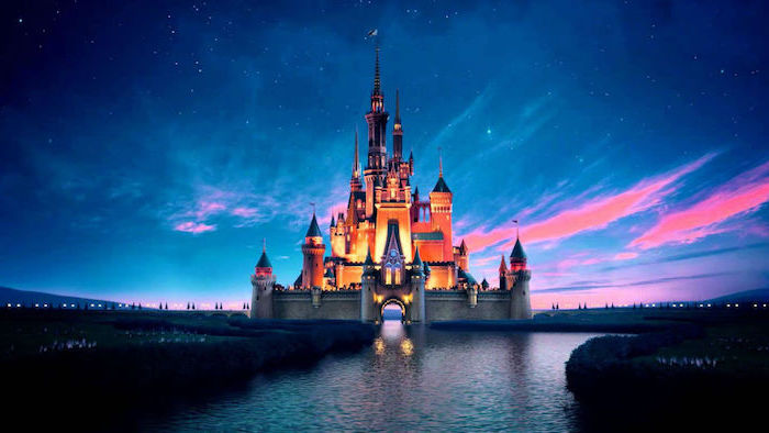 girly wallpapers, disney castle, blue sky, river flowing