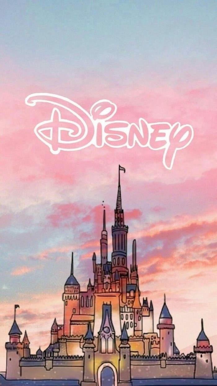 disney castle drawing, pink and blue sky, cute phone wallpapers
