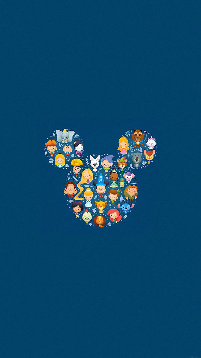 disney inspired, cute teen tumblr, character emojis, mickey mouse head outline, blue background
