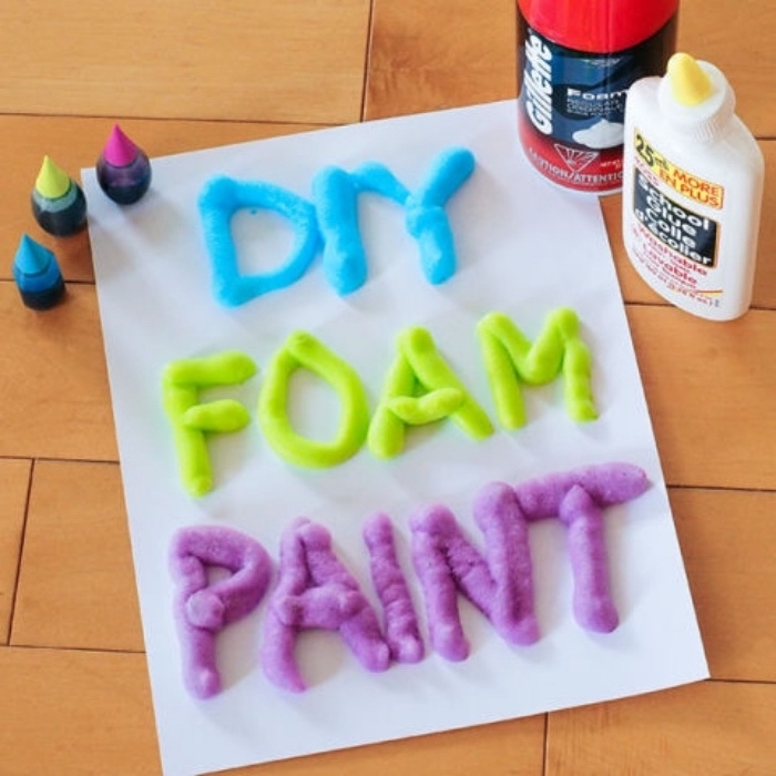 diy foam paint, shaving cream, elmer's glue, literacy activities for preschoolers, purple green and blue paint