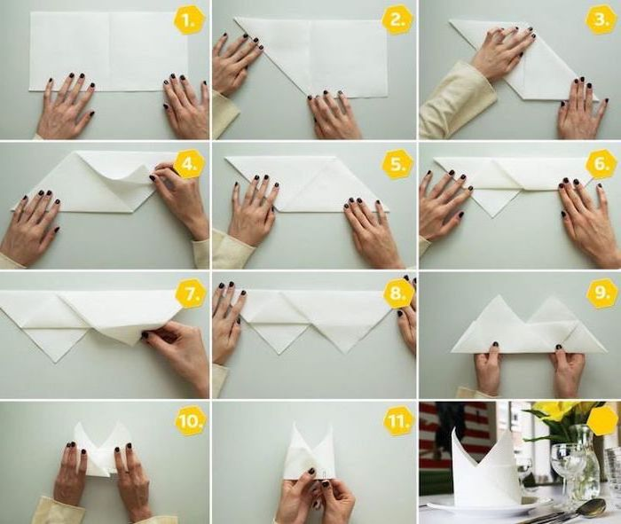 crown shaped, white napkin, step by step, christmas napkin folding, diy tutorial