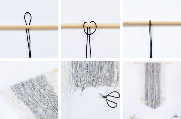 macrame wall hanging diy, step by step tutorial, white wall, black scissors