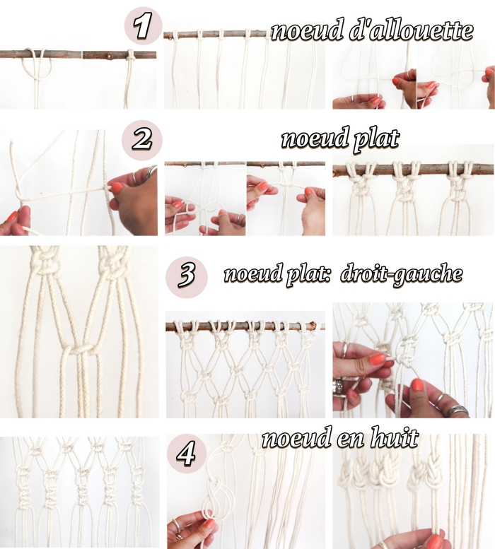 types of knots, macrame wall hanging patterns, step by step, diy tutorial