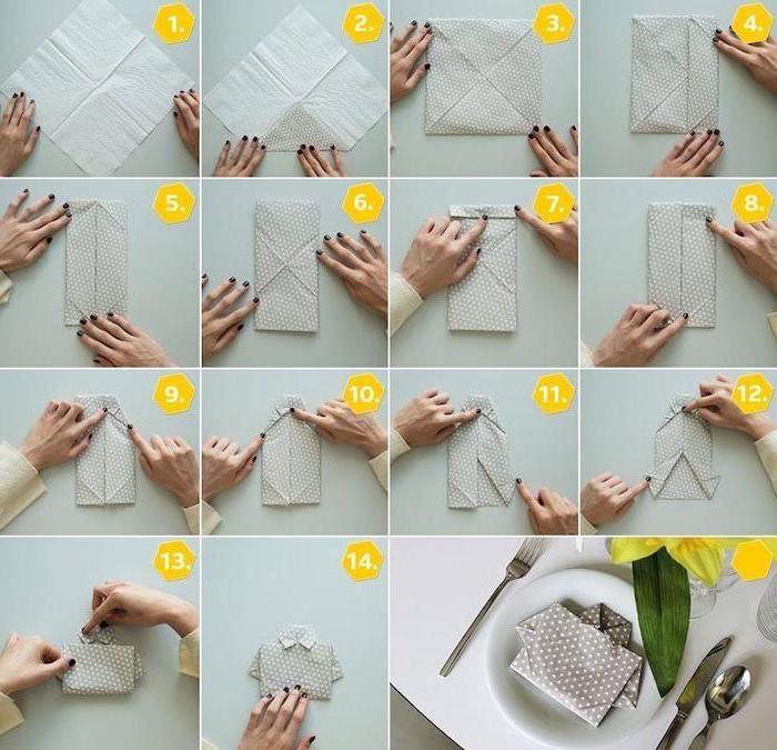 shirt shaped, grey napkin, with white dots, christmas napkin folding, step by step, diy tutorial