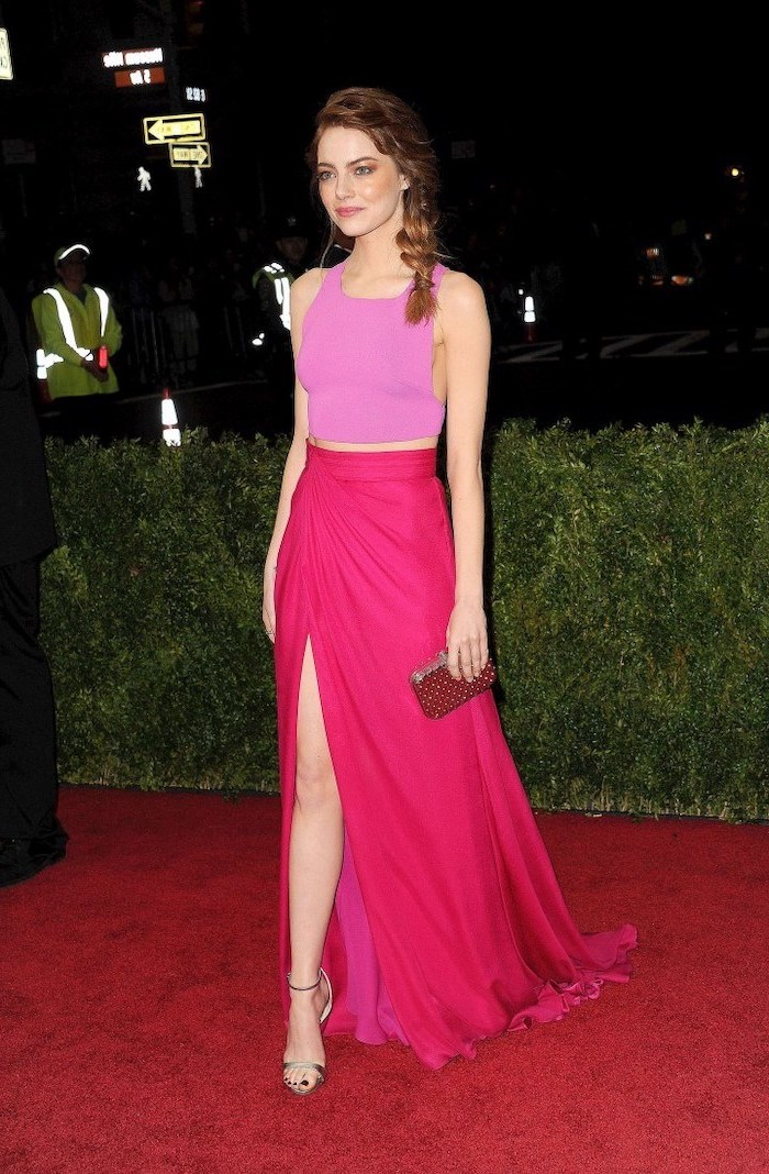 emma stone, pink crop top, hot pink long skirt, met gala best dressed, gold sandals, braided hair
