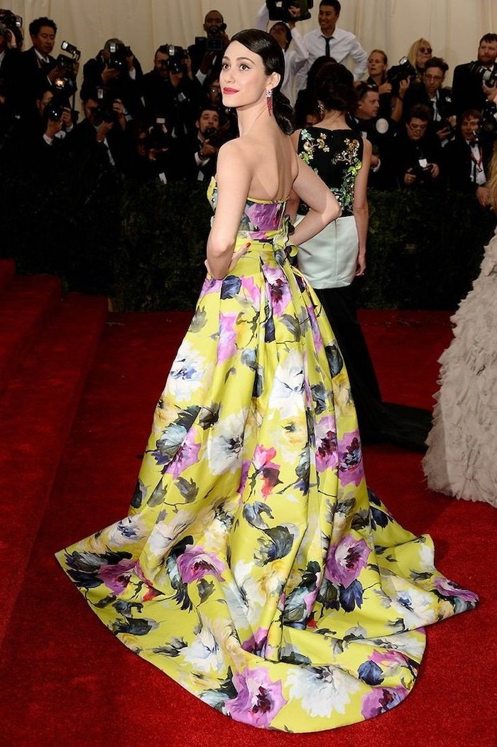 long yellow dresses, with pink and white flowers, emmy rossum, met gala dresses