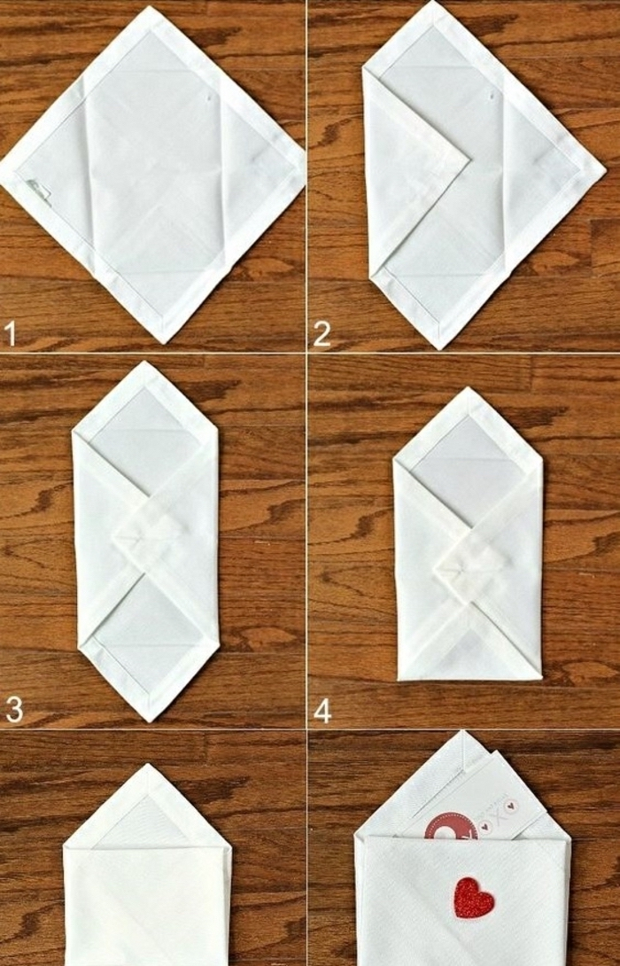 christmas napkin folding, white napkin, folded in the shape of an envelope, diy tutorial, step by step