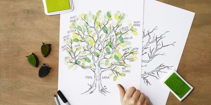 family tree, preschool games for kids, leaves made with thumbprints, on a white paper