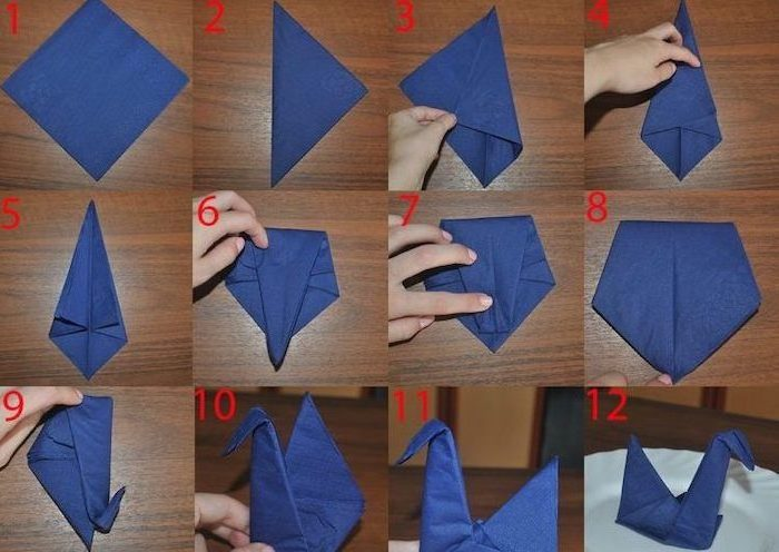 blue napkin, in the shape of a swan, paper napkin folding, diy tutorial, step by step