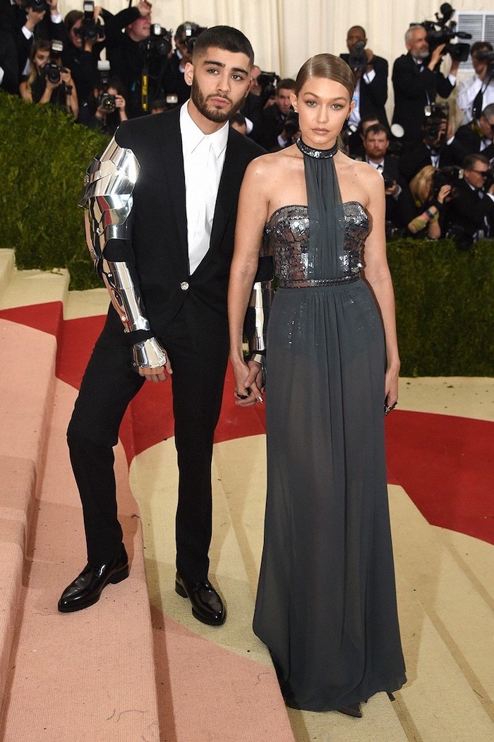 zayn malik, gigi hadid, wearing a silver dress, with silver sequins, met gala