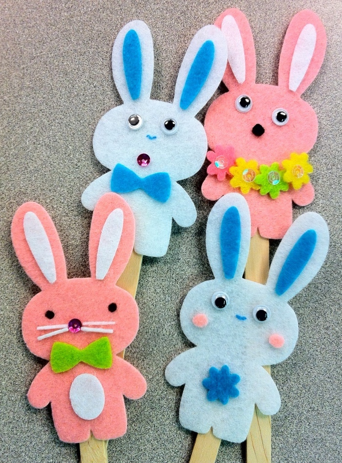 little bunnies, made of felt, preschool games for kids, glue to wooden popsicle sticks