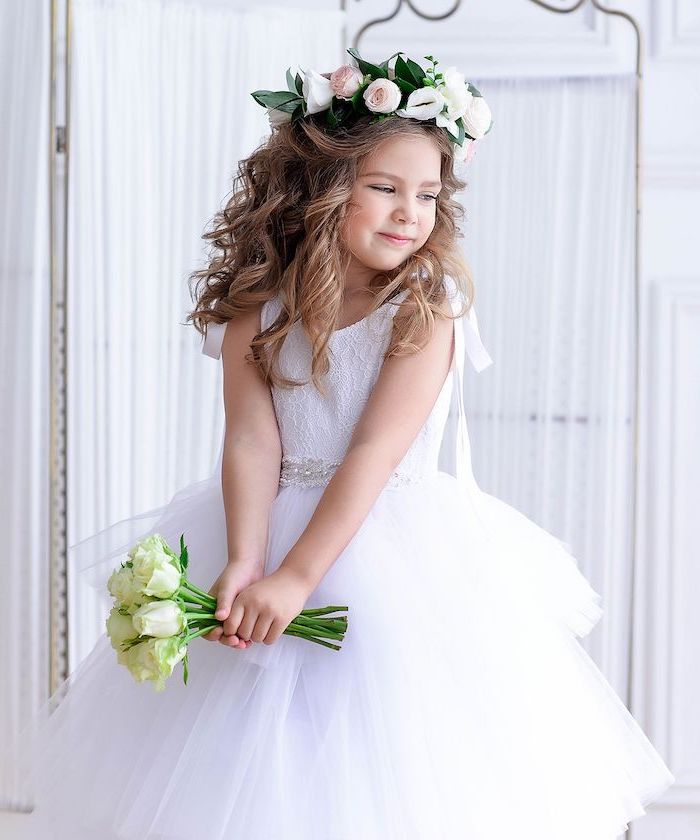 flower crown, long blonde wavy hair, white lace and tulle dress, white roses bouquet, flower girl dress