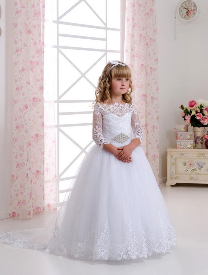 white lace and tulle dress, girls formal dresses, blonde wavy hair, with bangs, floral curtains