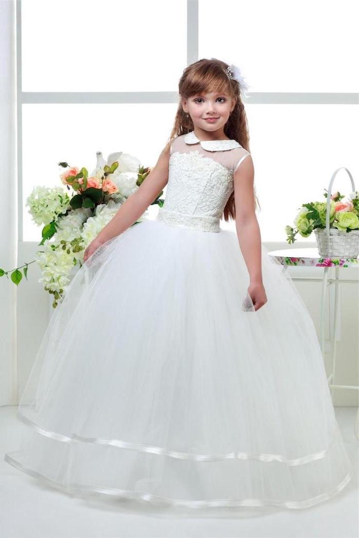 white lace and tulle dress, long blonde wavy hair, flower bouquets, girls formal dresses